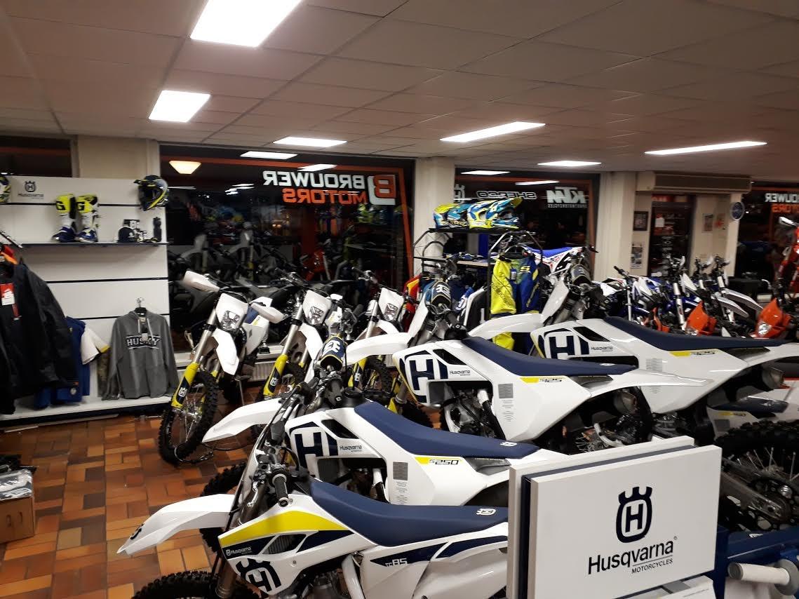 Husqvarna 2018 showroom Brouwer motors offrad dealer